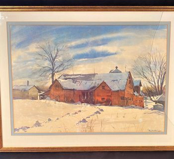 PHIL AUSTIN (1910-2004) ORIGINAL WATERCOLOR OF A RURAL WINTER LANDSCAPE, IT MEASURES 27 IN x 35 IN