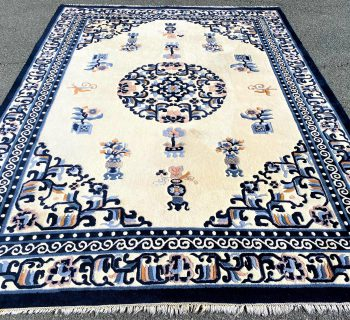ASIAN MOTIF HAND KNOTTED AUBUSSON RUG – 9.0 x 12.4