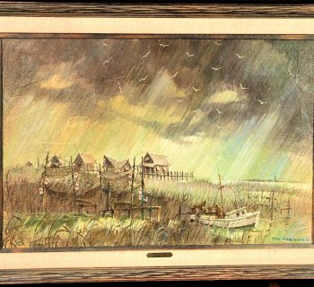 STAN ROBINSON (1927-1999) ORIGINAL ACRYLIC ON CANVAS FRAMED PAINTING MEASURES 42in x 30in x 1in