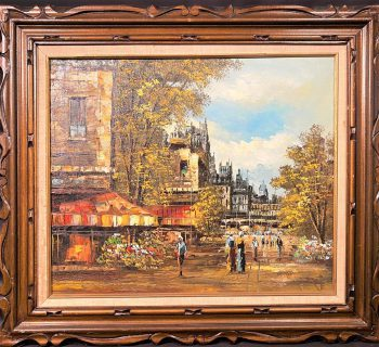JOSEPH OLIVERI (1940-NOW) ORIGINAL OIL ON CANVAS CITYSCAPE PAINTING – 20 IN x 24 IN