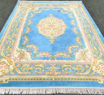 ASIAN HAND KNOTTED AUBUSSON RUG – 9.0 x 12.4