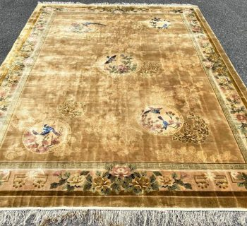 SILK ON SILK PICTORIAL 140 LINE HAND KNOTTED RUG – 9.0 x 12.0